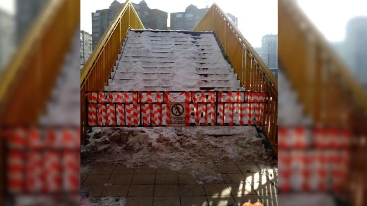 Виадук на Молокова перекрыли для пешеходов