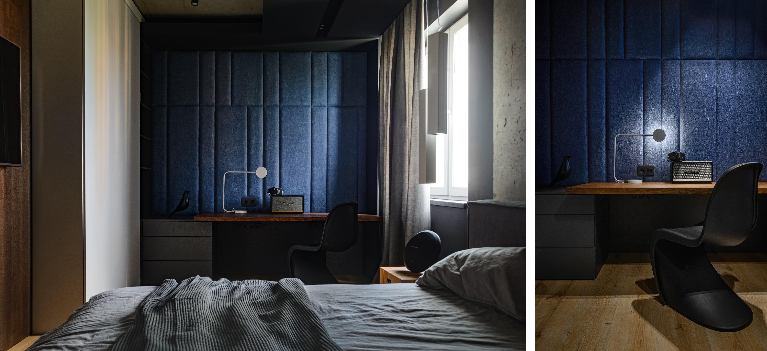 Для владельца квартиры сделали полноценное рабочее место: на стол он может поставить мониторы и оборудование и записывать хиты