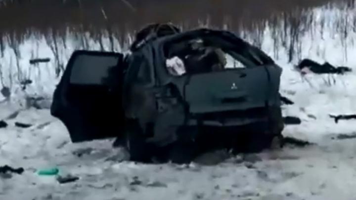 Появилось видео с места жуткого ДТП на трассе Волгоград - Москва с пятью погибшими