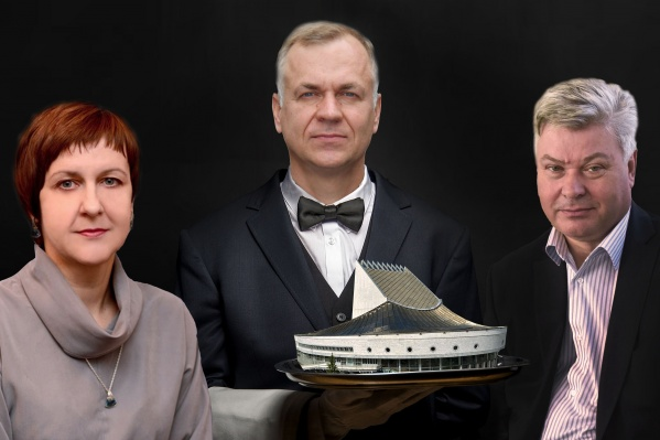 Слева направо: директор театра«Глобус» Елена Алябьева, министр культуры Решетников, экс-депутат Виктор Старков