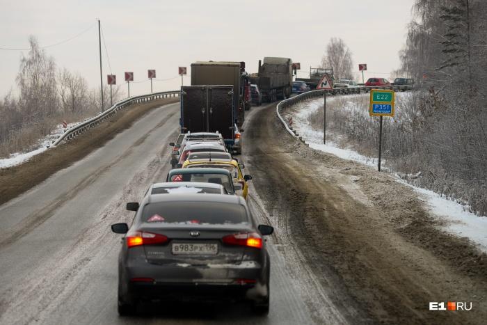 Пробка на въезде в Богданович