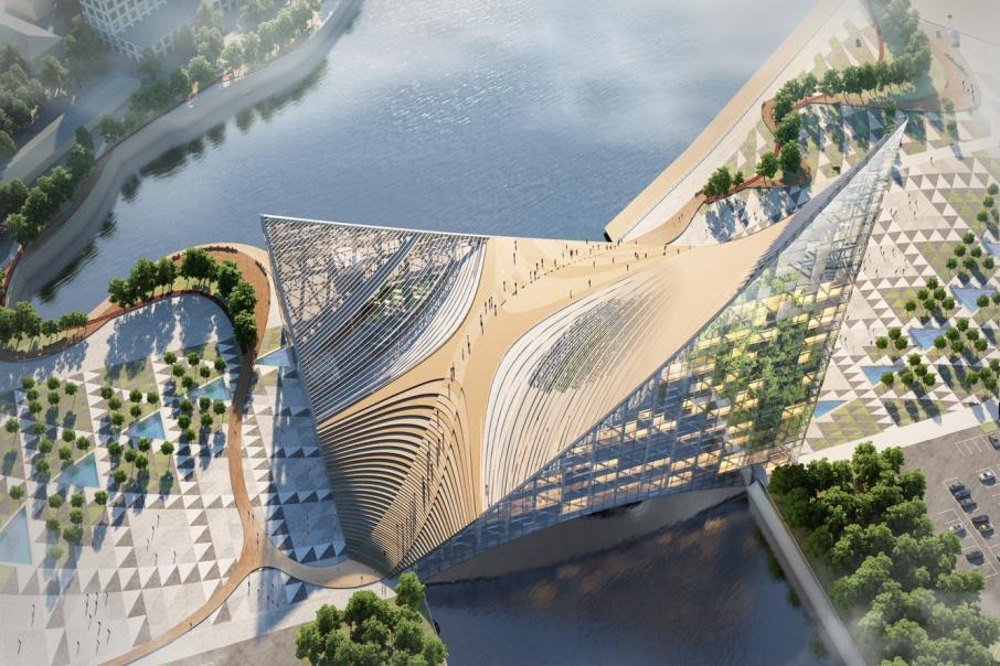 Конгресс-холл на берегу Миасса в 34 этажа должен был стать основной площадкой для проведения саммитов в Челябинске, но из-за низких темпов строительства его записали в запасные
