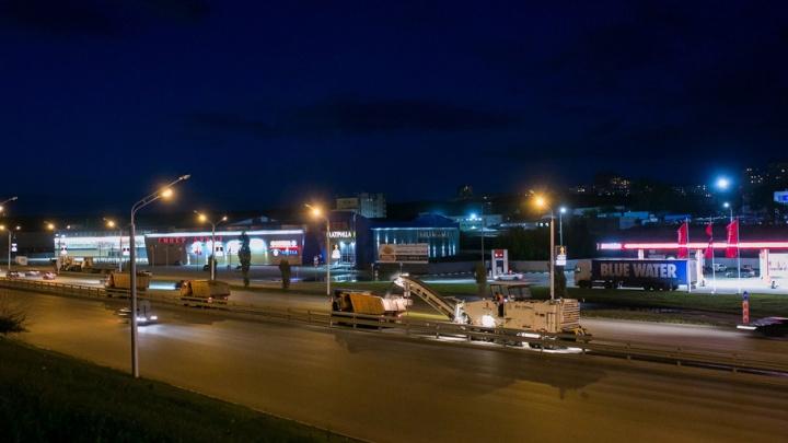 На главной магистральной дороге в Уфе уложили 1,5 километра асфальта