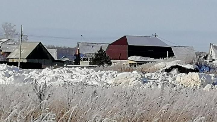 В одну из деревень Омской области свозят снег с реагентами