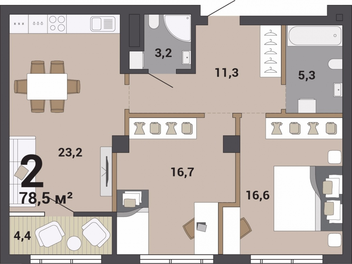 В двухкомнатной квартире будет удобно семье из трех или четырех человек. Дети и взрослые получат по комнате