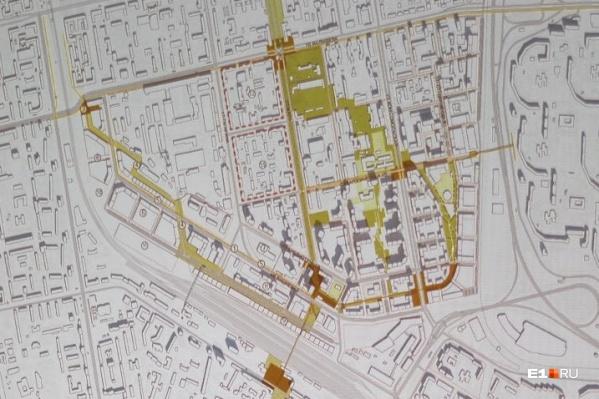 В центре — территория, проект перепланировки которой разработали по заказу «Первостроителя» (застройщик ЖК «Университетский»)