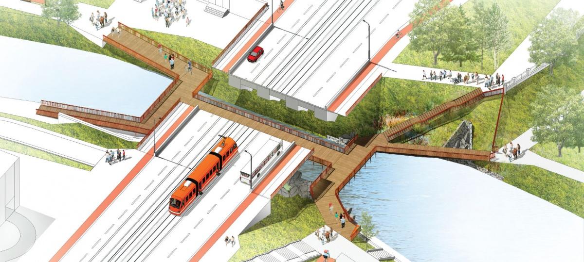 Мост под мостом в проекте архитектурного бюро «ОСА»