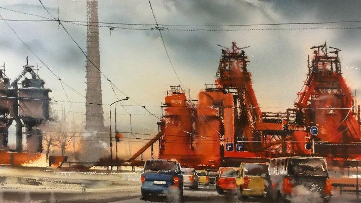 «Как закалялась сталь»: художник из Екатеринбурга изобразил в акварели тагильский завод-музей