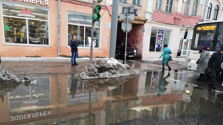 «Не смог обойти сеть великих озёр»: утопающие ярославцы жалуются на лужи. Видео