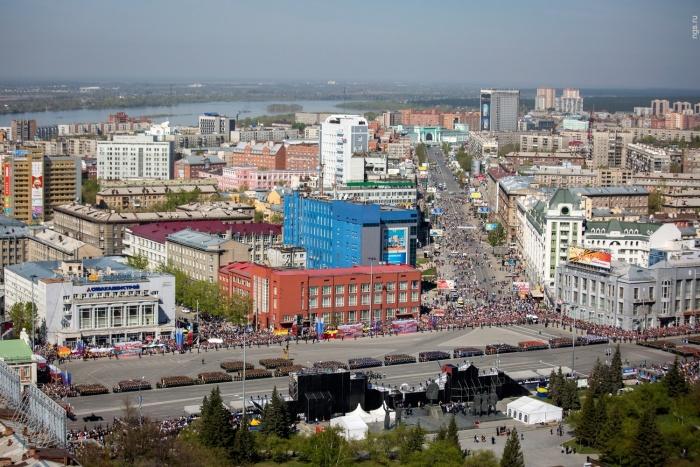 Центр Новосибирска в День Победы