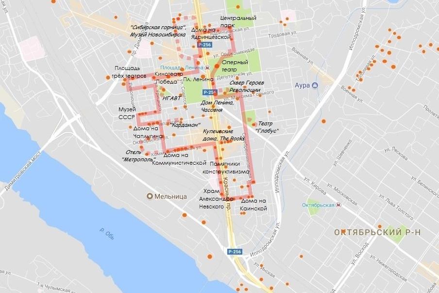 Маршрут, который активисты предлагают обозначить красной линией. Пунктир ведёт к зданиям, на которые хотят направить указатели