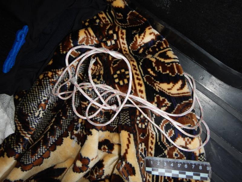 Удавку мужчины бросили вместе с Борисом в багажник — она была сделана из простой бельевой верёвки. Фото из материалов дела