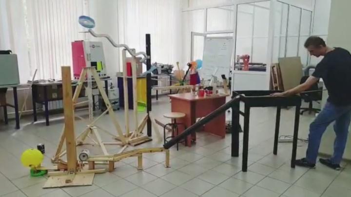 Видео: студенты собрали сложный механизм по принципу домино для забрасывания в чай кусочков сахара