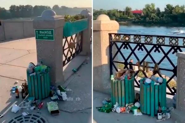 Живописный пейзаж берега Белой портит мусор