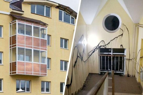 Такую картину увидели сегодня жильцы одного из домов на Очеретина