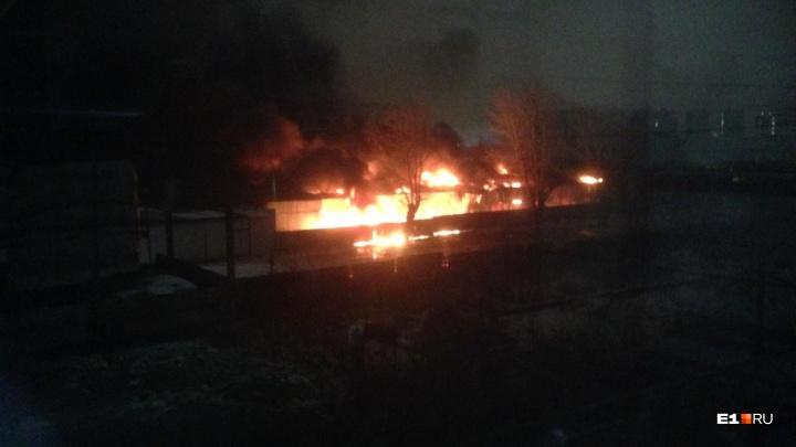 Внутри бочки с горючим: в Екатеринбурге загорелся огромный ангар на птичьем рынке