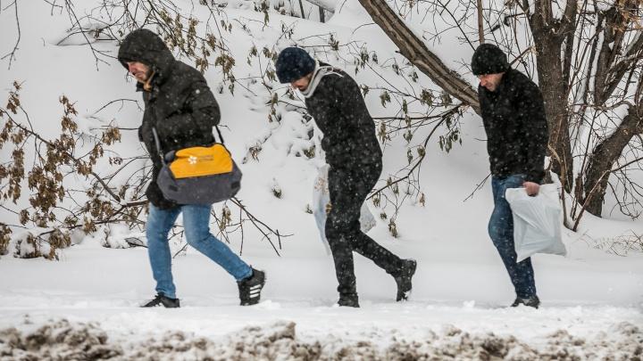 На Красноярск налетел снежный шторм. Ветер будет усиливаться