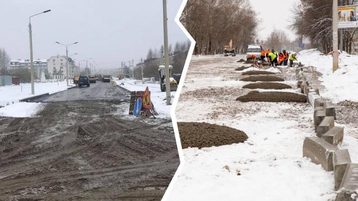«Мы не настолько богаты, чтобы себе это позволить»: как в Ярославле рабочие кладут асфальт в снег