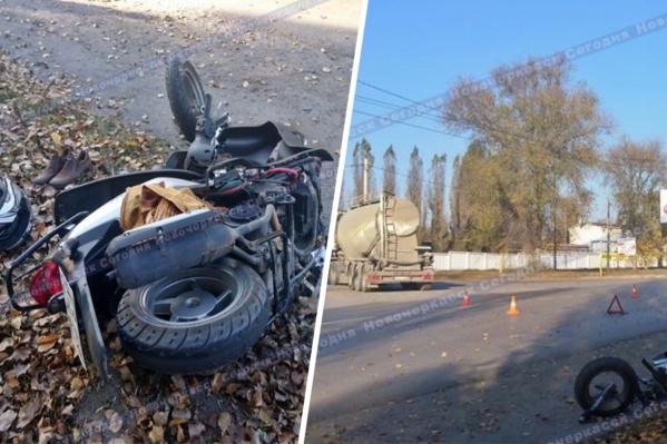 Водитель цементовоза не пропустил скутериста, и его отбросило на встречный автомобиль