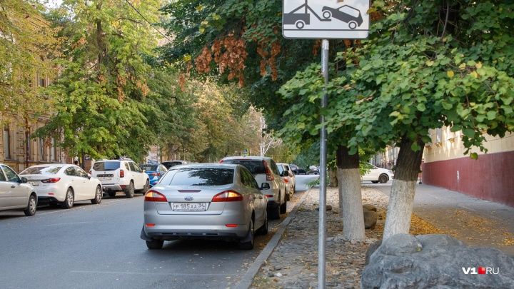 На газонах, в кустах и под знаком: волгоградские водители захватывают тротуары центра