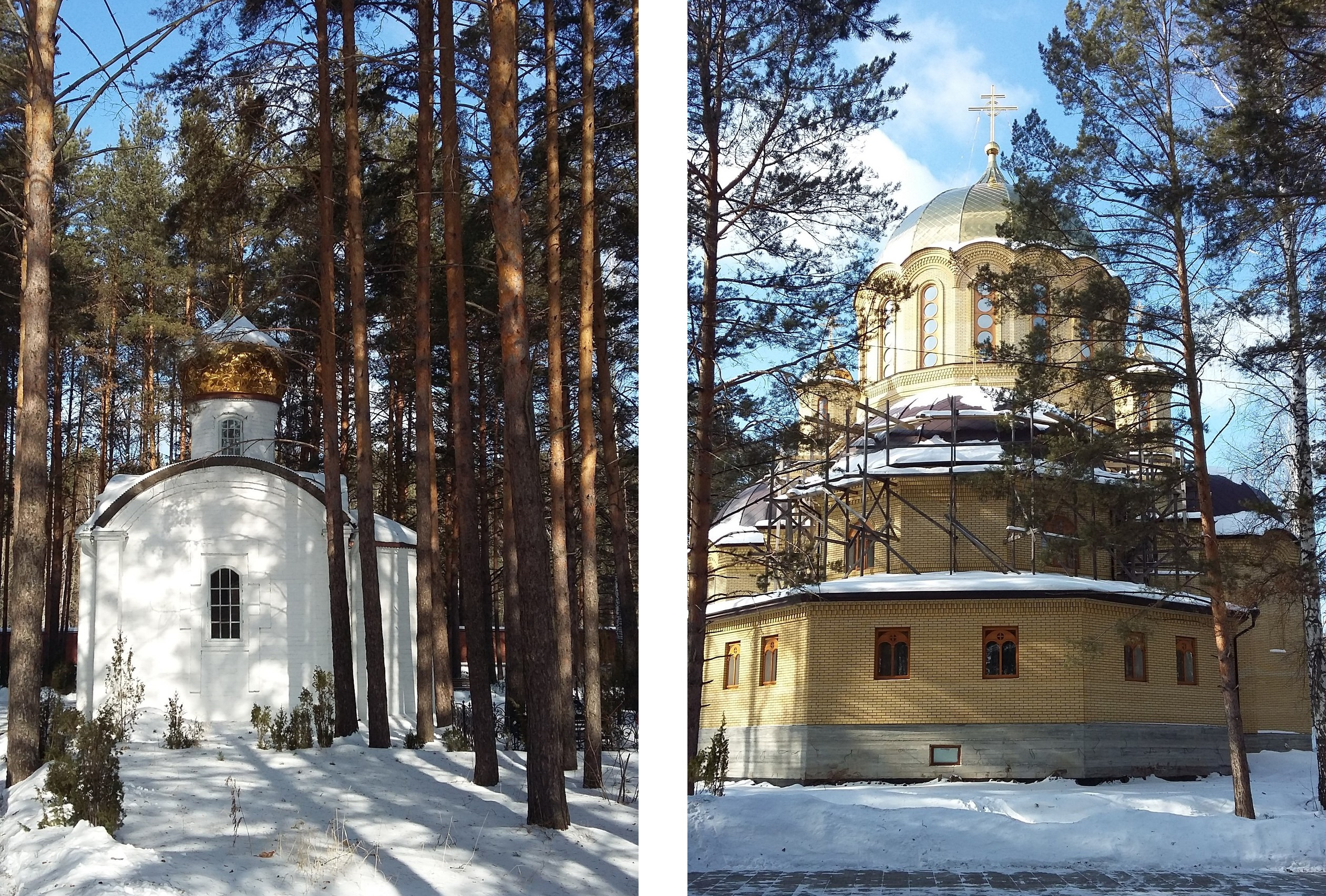 Часовня и строящийся храм на месте гибели представителей дома Романовых