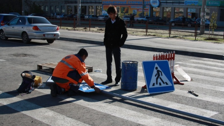 Разметку из термопластика нанесли лишь на главных дорогах Волгограда