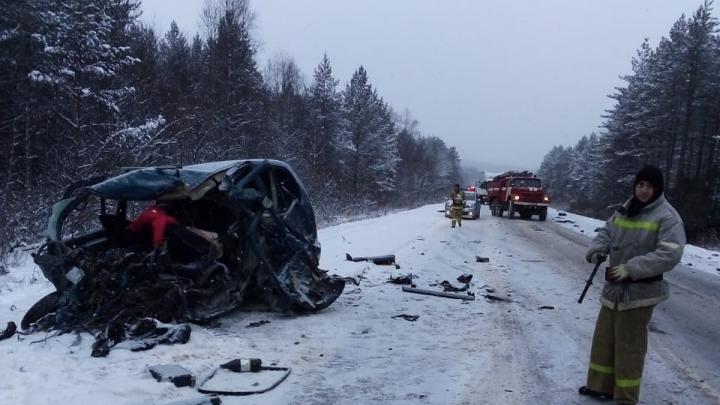 На М-5 в Челябинской области минивэн влетел под КАМАЗ. Один водитель погиб, ранены женщина и ребёнок