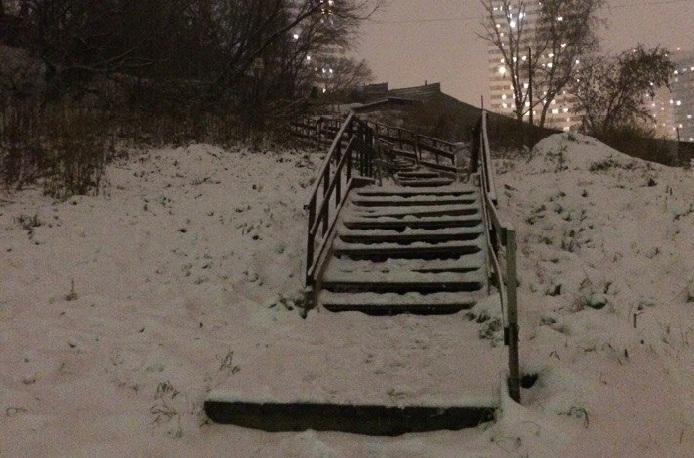 Покосившуюся лестницу засыпало снегом, но люди по ней всё равно ходят