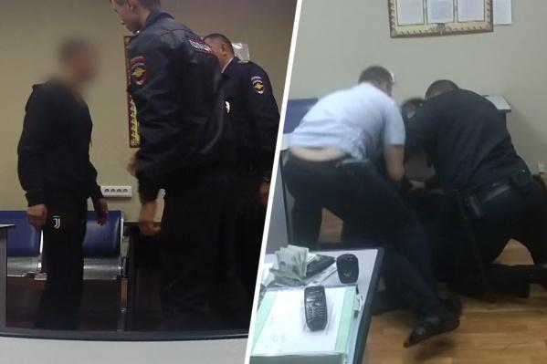 Мужчина продолжил дебоширить и в отделении дежурной части полиции