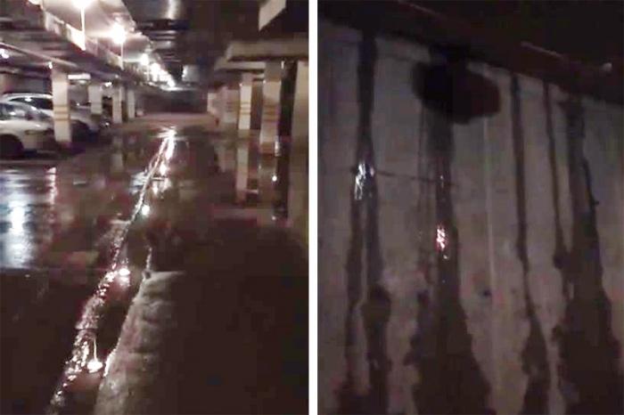 Подземная парковка после очередных осадков