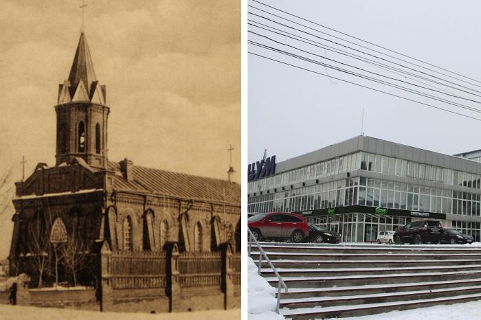 На месте центрального магазина раньше стоял католический храм с молитвенным домом, ледником и кладбищем