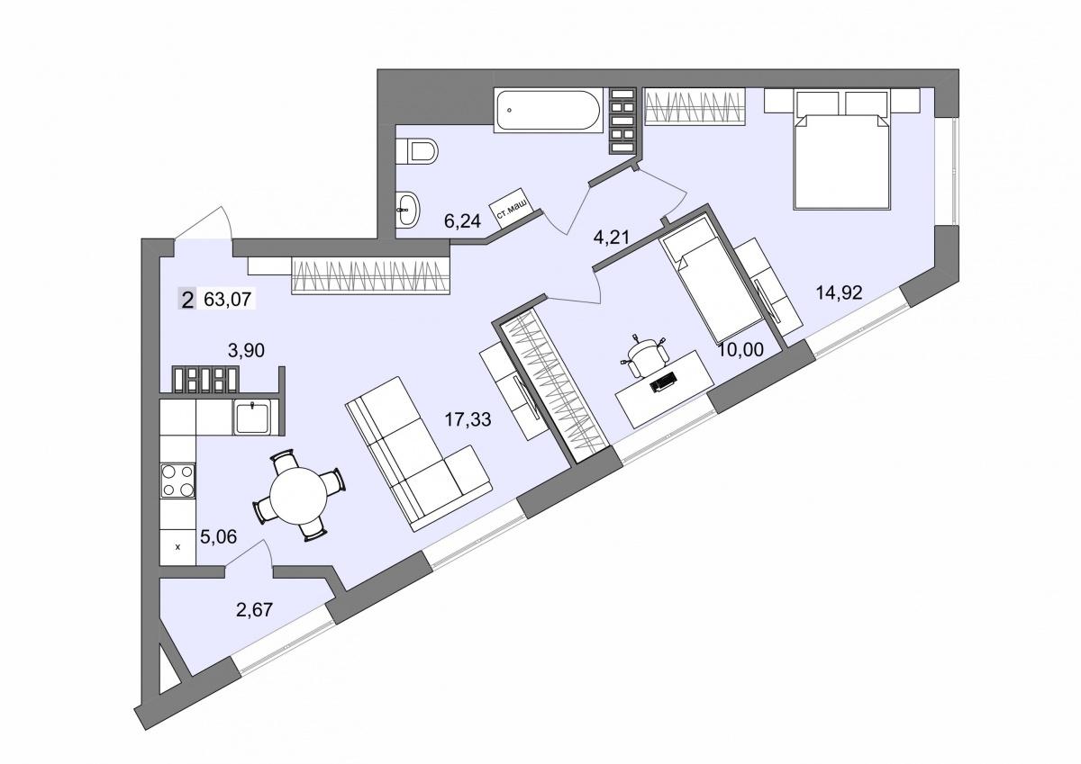 """Пример планировки """"голливудской"""" квартиры"""