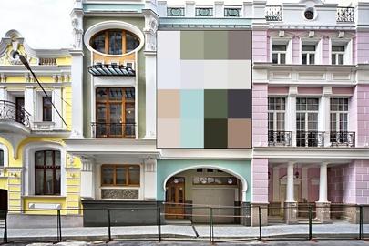 Вывески в предложенной цветовой гамме лучше всего бы сочетались с историческим зданием в центре