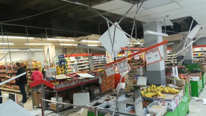 В магазине «Монетка»на Мира рухнули подвесные потолки