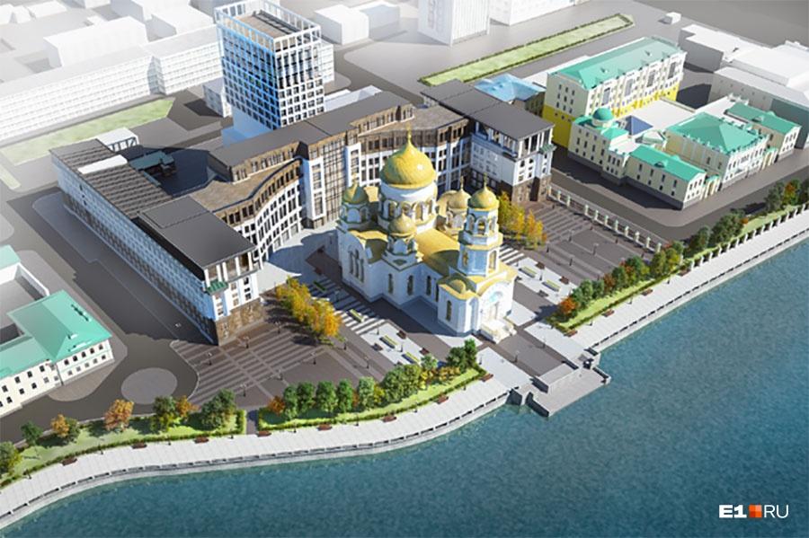 Так может выглядеть храм на месте приборостроительного завода — за ним библиотека