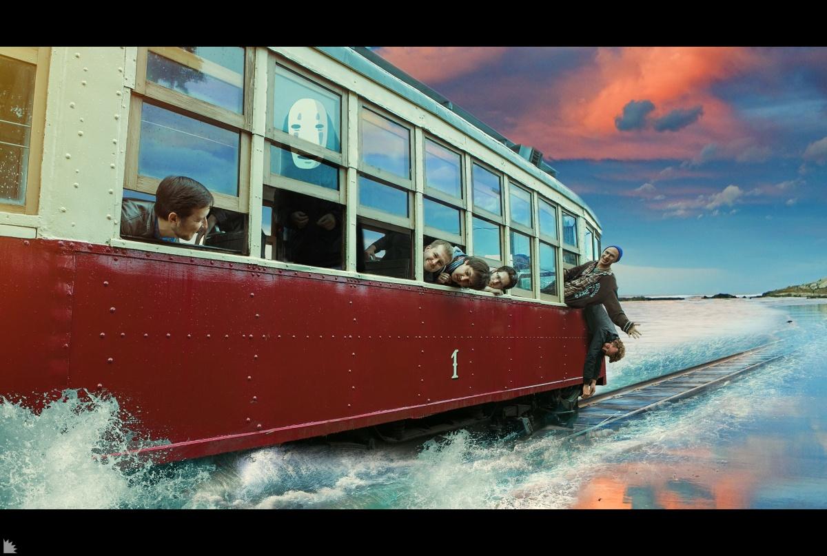 Трамвай как будто из мультфильма Миядзаки