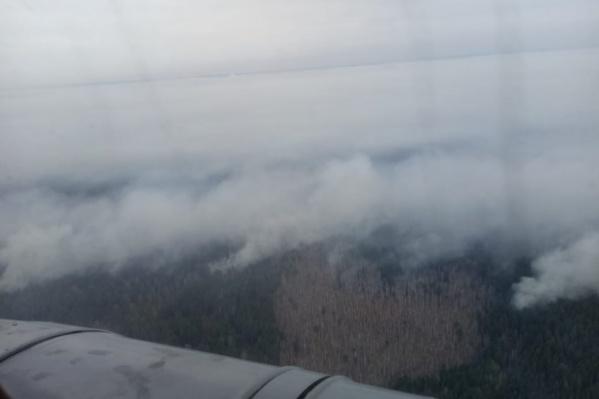 Утренние облеты района ЧП показывают сильное задымление