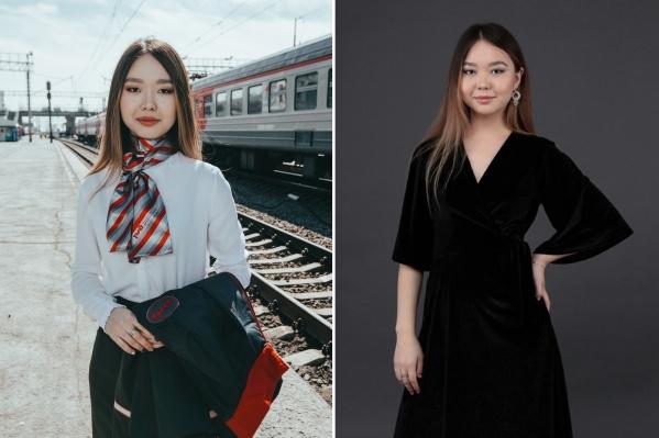 Как и другие конкурсантки, Алтынай в форме сотрудницы РЖД приняла участие в фотосессии