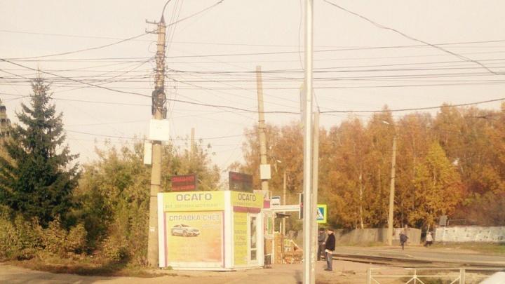 На улице Никитина консольные опоры загородили светофоры
