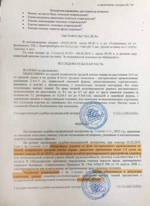Недетские разборки: в Екатеринбурге мама судится с садиком, где ребенок покусал её сына