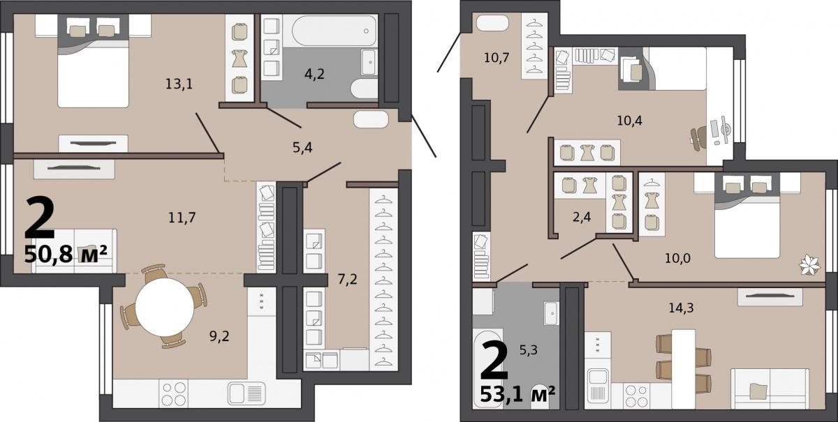 Есть несколько вариаций двухкомнатных квартир