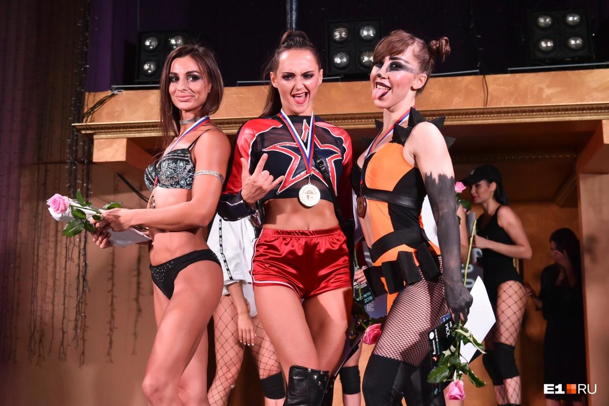 32-летняя Ирина Голубенко (в центре) стала лучшей среди профессионалов