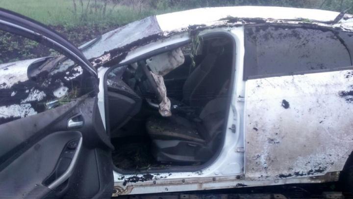 В Башкирии водитель без прав опрокинул машину в кювет