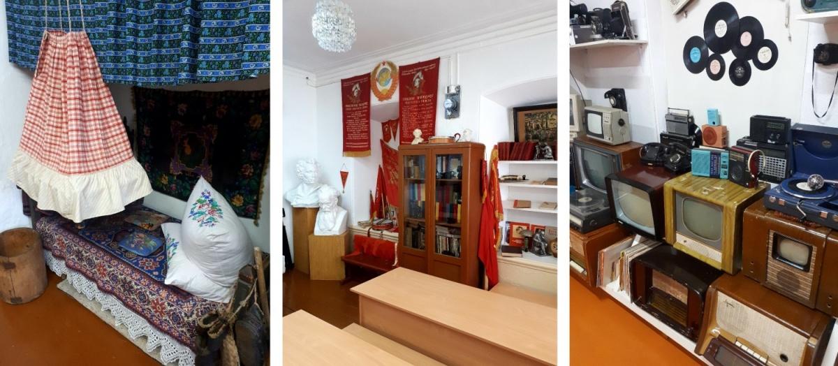 В музее пять залов. В одних старинные предметы быта, в других — атрибуты советского времени