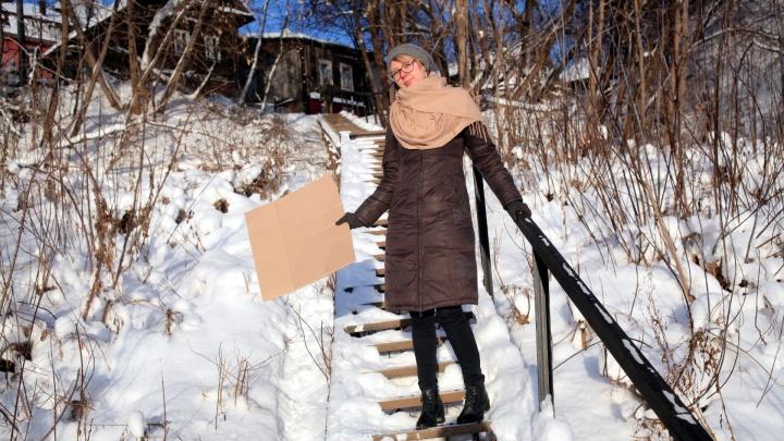 По ступенькам с ветерком. Проверяем, как в Перми чистят от снега лестничные переходы
