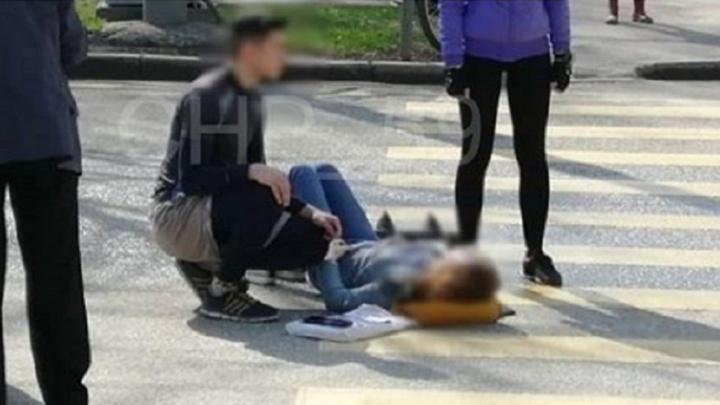 В центре Перми иномарка сбила женщину на перекрестке