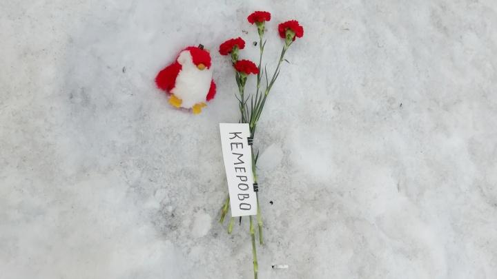Новосибирцы принесли цветы в Нарымский сквер в память о пожаре в «Зимней вишне»