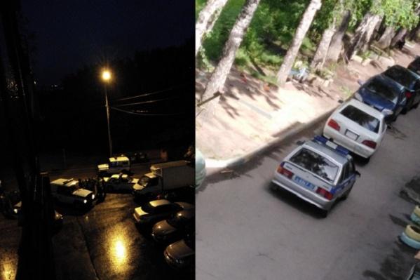 Белая машина, которая сейчас расположена возле полицейской, стоит во дворе с ночи