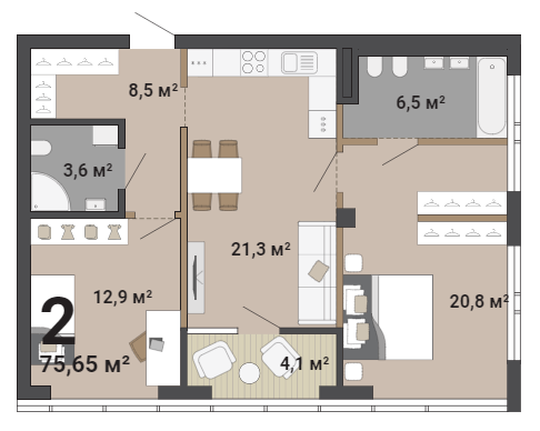 В такой квартире можно сделать мастер-спальню