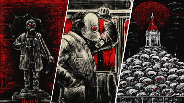 Красноярский художник нарисовал серию мрачных работ об экологии города